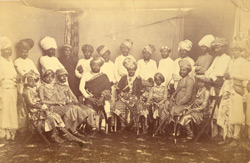 Studio portrait of chiefs from Kathiawar, Gujarat.